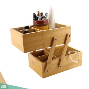 Szétnyitható sminkes doboz, smink szervező (bambuszfa)