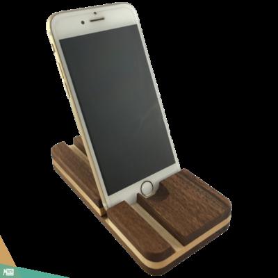 Okostelefon-tartó lekerekített DOUBLE (diófa és juharfa)