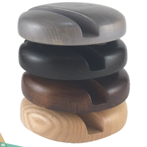 Okostelefon-tartó CLASSIC (bükkfa, szürke szín)