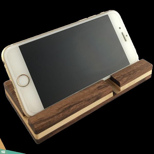 Okostelefon-tartó szögletes DOUBLE (diófa és juharfa)