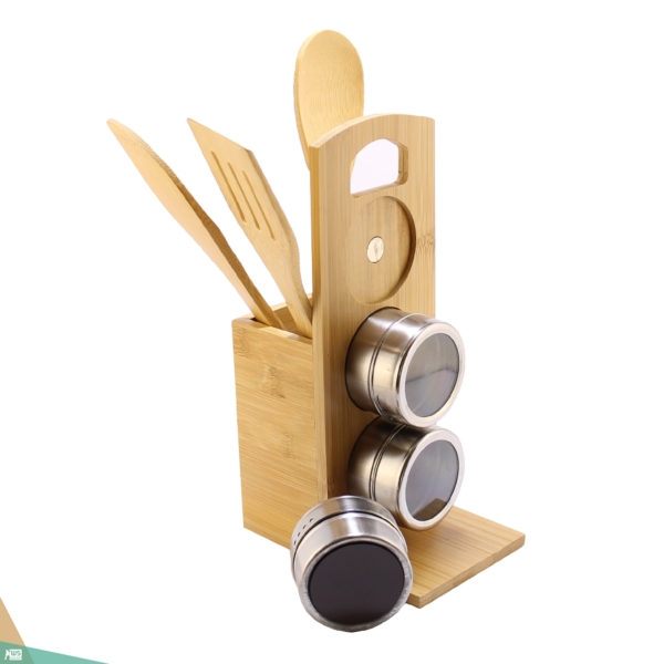 Mágneses fűszertartó (bambuszfa)