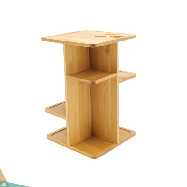 Sminktartó állvány, forgatható smink szervező (bambuszfa)