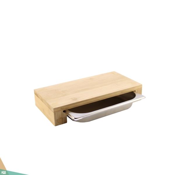 Vágódeszka tálcával (bambuszfa)